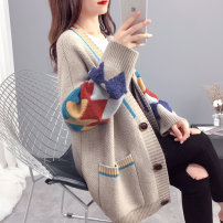 Wool knitwear Autumn of 2019 S M L XL Green Red Blue Dark Khaki Beige lake blue Long sleeves singleton  Cardigan other More than 95% Regular routine commute easy V-neck routine Color matching Single breasted Korean version PY71908 25-29 years old Chimera Pocket panel button Other 100%