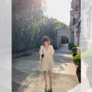 Dress Summer 2021 Off white, thin and black S,M,L Short skirt singleton  elbow sleeve commute V-neck High waist Solid color zipper A-line skirt puff sleeve Type X Korean version Three dimensional decoration 30% and below other other