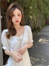 Dress Summer 2021 First love white S,M,L Mid length dress singleton  Short sleeve commute other High waist Solid color A-line skirt puff sleeve Others Type A Korean version 30% and below other other