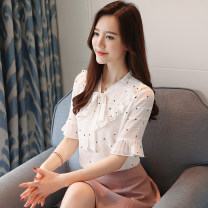 Lace / Chiffon Summer of 2019 white S,M,L,XL,2XL elbow sleeve Sweet Socket singleton  Self cultivation Regular V-neck Dot pagoda sleeve Other / other Tie, bow