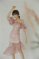 Dress Summer 2020 gules S,M,L Miniskirt Short sleeve One word collar
