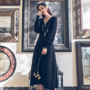 Dress Winter of 2019 Red, blue, black S,M,L Long sleeves V-neck High waist Other / other