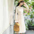 Dress Autumn of 2019 Apricot, blue S,M,L,XL Miniskirt singleton  Long sleeves Sweet other High waist Solid color Socket other other Others 18-24 years old Type A Other / other Lace 71% (inclusive) - 80% (inclusive) other other Mori