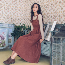 Fashion suit Autumn of 2019 50. S, m, one size fits all Caramel red skirt, khaki sweater Other / other