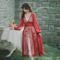 Dress Summer of 2019 Apricot dress and crimson blouse S,M,L longuette singleton  Long sleeves Sweet middle-waisted Other / other 6110-1