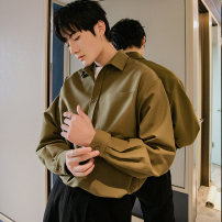 shirt Youth fashion CHICERRO S,M,L,XL White, black, brown, green routine Pointed collar (regular) Long sleeves easy Other leisure spring teenagers tide 2021 Solid color No iron treatment Button decoration
