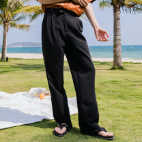 Casual pants CHICERRO Youth fashion Black, apricot S,M,L,XL routine trousers Other leisure easy summer teenagers tide 2021 middle-waisted Straight cylinder Tapered pants Three dimensional tailoring No iron treatment Solid color