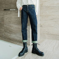 Jeans Youth fashion CHICERRO S,M,L,XL navy blue routine Micro bomb Regular denim trousers Other leisure autumn teenagers middle-waisted Loose straight tube tide 2020 Straight foot zipper Three dimensional tailoring Wash with water, no iron treatment