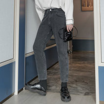 Jeans Youth fashion CHICERRO S,M,L,XL black routine Micro bomb Regular denim trousers Other leisure autumn teenagers middle-waisted Loose straight tube tide 2020 Little straight foot zipper Three dimensional tailoring Wash with water, no iron treatment
