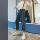 Jeans Youth fashion CHICERRO S,M,L,XL blue routine Micro bomb Regular denim trousers Other leisure autumn teenagers middle-waisted Loose straight tube tide 2020 Straight foot zipper Three dimensional tailoring Wash with water, no iron treatment
