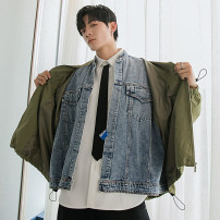 Jacket CHICERRO Youth fashion Army green, black M,L,XL routine easy Other leisure spring Long sleeves Wear out stand collar tide teenagers routine Zipper placket 2021 Assorted hem washing Closing sleeve Solid color Denim Splicing