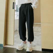 Casual pants CHICERRO Youth fashion Black, apricot S,M,L,XL routine Ninth pants Other leisure easy Micro bomb spring teenagers tide 2021 Medium high waist Little feet Tapered pants Three dimensional tailoring No iron treatment Solid color