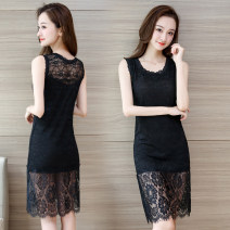 Vest sling Summer 2021 Main picture 1115 black lace dress lace, main picture 1115 white lace dress lace Average size (90kg-130kg) singleton  Medium length Self cultivation commute 18-24 years old Lace Stitching, mesh, lace