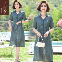 Middle aged and old women's wear Summer 2021 green XL recommendation 105-120 Jin 2XL recommendation 120-135 Jin 3XL recommendation 135-145 Jin 4XL recommendation 145-160 Jin fashion Dress easy singleton  Solid color 40-49 years old Socket thin V-neck Medium length routine 21-56787 Thousands of naires