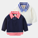 T-shirt White, dark blue Shell family 90cm,100cm,110cm,120cm,130cm,140cm male Long sleeves Lapel crew neck leisure time Official pictures nothing other other tx-2119 Class B 2, 3, 4, 5, 6, 7, 8, 9, 10, 11, 12, 13, 14 years old