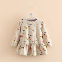 Dress Beige female Shell family 90cm,100cm,110cm,120cm,130cm,140cm Other 100% spring and autumn princess Long sleeves Broken flowers cotton A-line skirt Class B 2, 3, 4, 5, 6, 7, 8, 9, 10, 11, 12, 13, 14 years old