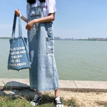 Dress Summer 2020 Retro color, high quality S,M,L,XL Mid length dress singleton  Sleeveless commute other High waist Solid color Three buttons A-line skirt other straps 18-24 years old Type H Other / other Korean version Pockets, rags, buttons 31% (inclusive) - 50% (inclusive) Denim cotton