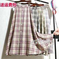 skirt Summer 2021 Average size Light purple, black, green, blue gray Mid length dress commute High waist A-line skirt lattice Type A other other Button Korean version