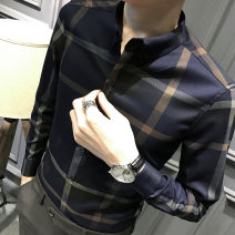 shirt Youth epidemic Galen conventional S M L XL 2XL 3XL Grey Royal Blue Self-cultivation Other leisure Long sleeve four seasons Buckle collar Exquisite Korean style youth Polyester fiber 74.8% viscose fiber (viscose fiber) 23.9% polyurethane elastic fiber (spandex) 1.3% lattice Polyester Non-ironing