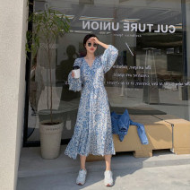 Dress Spring 2021 Apricot, blue and white S. M, l, XL Mid length dress Two piece set Long sleeves commute V-neck High waist Broken flowers zipper other puff sleeve Others 18-24 years old Type X Other / other Simplicity Zipper, print More than 95% other polyester fiber
