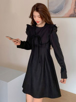 Dress Spring 2021 black Average size Short skirt singleton  Long sleeves commute Crew neck High waist Solid color Socket A-line skirt routine 18-24 years old Type A Korean version 30% and below other other