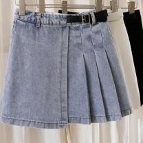 skirt Summer 2021 S,M,L,XL Blue, white, black Short skirt commute High waist Pleated skirt other 71% (inclusive) - 80% (inclusive) other Other / other other zipper Korean version