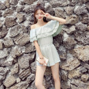 Casual pants Mint light grey S M L XL Summer of 2018 shorts Jumpsuit High waist Sweet routine 18-24 years old fungus cotton princess