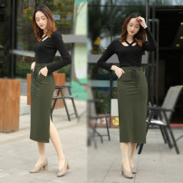 skirt Spring of 2019 S,M,L,XL Army green longuette commute Natural waist skirt Solid color yijiA002 More than 95% cotton Korean version 201g / m ^ 2 (including) - 250G / m ^ 2 (including)