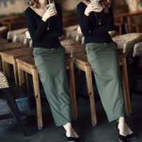 skirt Autumn of 2018 S,M,L,XL,2XL longuette Retro Natural waist skirt Solid color Type H 25-29 years old cotton