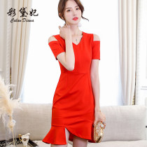 Dress Summer of 2018 Black red SMLXLXXL Short skirt singleton  Short sleeve commute High waist Solid color Socket 25-29 years old Caidaifei Korean version L551RX Polyester fiber 94.9% polyurethane elastic fiber (spandex) 5.1%