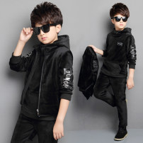 suit Banner baby male winter leisure time Long sleeve + pants 3 pieces Plush There are models in the real shooting Socket No detachable cap Solid color other children Expression of love D361-2 Class B Polyester fiber 94.7% polyurethane elastic fiber (spandex) 5.3% Winter of 2018