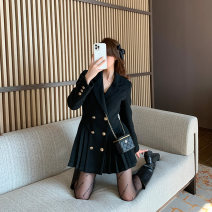 Women's large Winter 2020 black Large, 3XL, 4XL, large woolen coat singleton  commute Self cultivation moderate Cardigan Long sleeves Solid color Korean version Polo collar routine Three dimensional cutting routine W5838 Mr. Zhang 25-29 years old Button