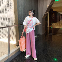 Women's large Spring 2021 White jacket, black pants, rose pink pants Large, 3XL, 4XL, large Other oversize styles Two piece set commute easy moderate Socket Short sleeve Solid color Korean version Crew neck routine Three dimensional cutting routine S3088+K3089 Mr. Zhang 25-29 years old trousers