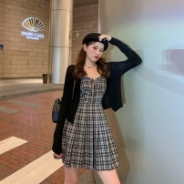 Women's large Spring 2021 Coat, dress Large, 3XL, 4XL, large Other oversize styles Two piece set commute Self cultivation moderate Cardigan Long sleeves lattice Korean version routine Three dimensional cutting routine W5110+L5111 Mr. Zhang 25-29 years old zipper Medium length