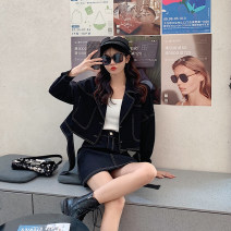 Women's large Spring 2021 black Large, 3XL, 4XL, large Other oversize styles Two piece set commute Self cultivation moderate Cardigan Long sleeves Solid color Korean version Polo collar routine Three dimensional cutting T3928 Mr. Zhang 25-29 years old Bandage Short skirt