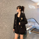 Women's large Spring 2021 black Large, 3XL, 4XL, large Other oversize styles Two piece set commute easy moderate Cardigan Long sleeves Solid color Korean version routine Three dimensional cutting routine T2866 Mr. Zhang 25-29 years old Button Short skirt