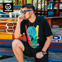 T-shirt Youth fashion black routine 6XL Tideword / Chaoyan T18-A194 Cotton 95% polyurethane elastic fiber (spandex) 5% Knitted fabric Summer of 2018 Pure e-commerce (online only)