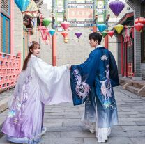 National costume / stage costume Summer 2021 Only purple gradual change big sleeve, with purple two-piece set inside, with white two-piece set inside, only blue gradual change big sleeve S,XL,L,M,XXL,3XL,4XL 18-25 years old cotton