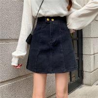 skirt Summer 2020 M,L,XL,2XL,3XL,4XL black Short skirt Versatile High waist A-line skirt Solid color Type A 71% (inclusive) - 80% (inclusive) Denim other pocket