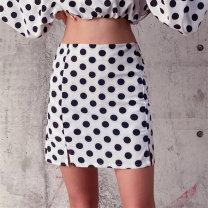 skirt Summer 2020 S,M,L Black, white Short skirt street High waist A-line skirt Dot Type A 18-24 years old Zipper, print Europe and America