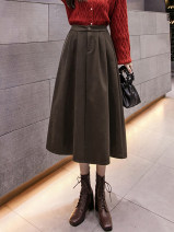 skirt Winter 2020 S,M,L,XL Black, dark coffee Mid length dress commute High waist A-line skirt Solid color Type A 18-24 years old AT 51% (inclusive) - 70% (inclusive) other IEF / aiyifu polyester fiber Pocket, button Korean version