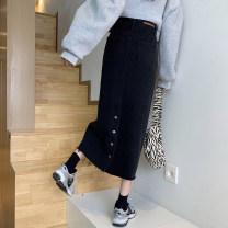 skirt Spring 2021 S,M,L,XL Black, blue grey longuette Versatile High waist A-line skirt Solid color Type A 18-24 years old 71% (inclusive) - 80% (inclusive) Denim cotton Pocket, button, zipper