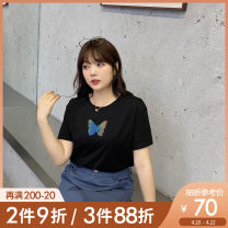 Women's large Summer 2021 Black turmeric black pre-sale (4.30 shipment) turmeric pre-sale L XL 2XL 3XL 4XL 5XL T-shirt singleton  commute easy moderate Socket Short sleeve Animal design Korean version Crew neck routine Cotton others Three dimensional cutting Z1075 Caidoble / caidoble · CAI
