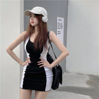 Dress Summer 2021 Black and white, apricot and red Average size Short skirt singleton  Sleeveless commute High waist Solid color Socket One pace skirt routine 18-24 years old Korean version Splicing 51% (inclusive) - 70% (inclusive) knitting