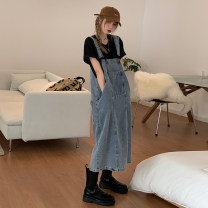 Dress Summer 2021 Black, denim S,M,L longuette singleton  commute Solid color Socket straps 18-24 years old Type A Korean version pocket 31% (inclusive) - 50% (inclusive) other