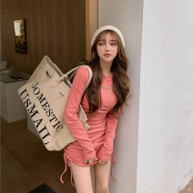 Dress Summer 2021 Pink 8880, black 8880, gray 8880 Average size Short skirt singleton  Long sleeves commute Crew neck Solid color Socket routine 18-24 years old Korean version 31% (inclusive) - 50% (inclusive) other