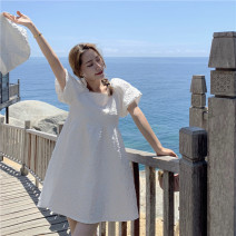 Dress Spring 2021 White dress with hat Average size commute 18-24 years old Korean version 31% (inclusive) - 50% (inclusive) other