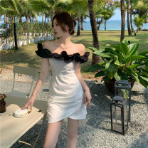 Dress Summer 2021 Picture color S,M,L Short skirt singleton  commute One word collar High waist 18-24 years old Type A Retro 31% (inclusive) - 50% (inclusive) other