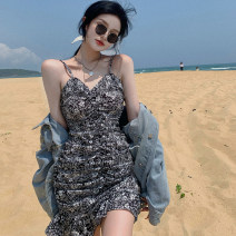 Dress Summer 2021 Blue, black S,M,L Middle-skirt singleton  Sleeveless commute other Decor One pace skirt routine 18-24 years old Korean version 31% (inclusive) - 50% (inclusive) other