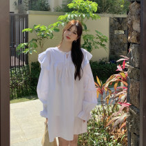 Dress Summer 2021 White, light beige Average size Short skirt singleton  Long sleeves commute Crew neck Solid color Socket One pace skirt routine Others 18-24 years old Type H Korean version 31% (inclusive) - 50% (inclusive) other cotton
